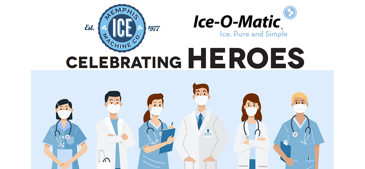 memphis ice machine and ice-o-matic logos above healthcare workers
